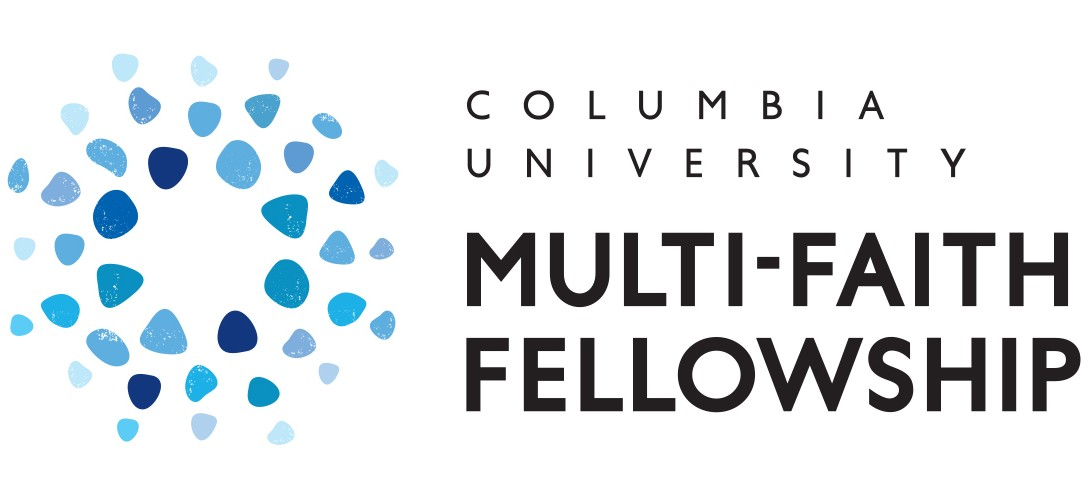 Columbia University Multi-Faith Fellowship logo with different colored blue stones emanating from a circle.