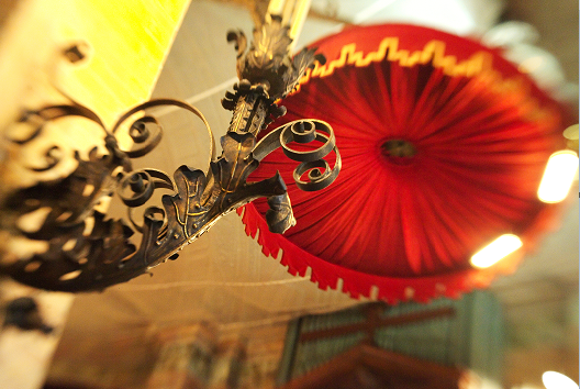 Lamp and top of pulpit in St. Paul's Chapel.